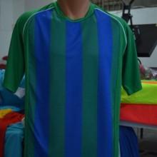 Yeşil-Lacivert Çubuklu Hazır Halı Saha Forması Tek Üst 6 Adet
