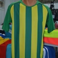 Yeşil-Sarı Çubuklu Hazır Halı Saha Forması Tek Üst 6 Adet